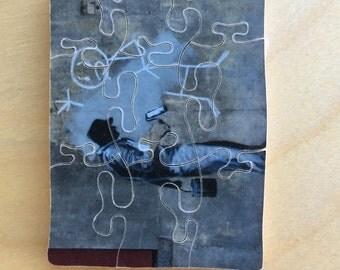 Hand-cut mini wooden jigsaw puzzle: street art