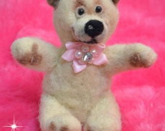 Mini Teddy Bear Girl Needle Felted Soft Sculpture