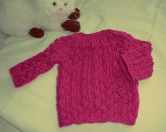 Point to strong pink newborn sweater - Knitting baby sweater pink