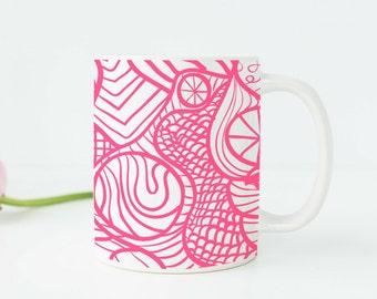 Pink Office Supplies Pink Office Decor Pink Mug Pink Desk Accessories Pink  Kitchen Decor Pink Dinnerware
