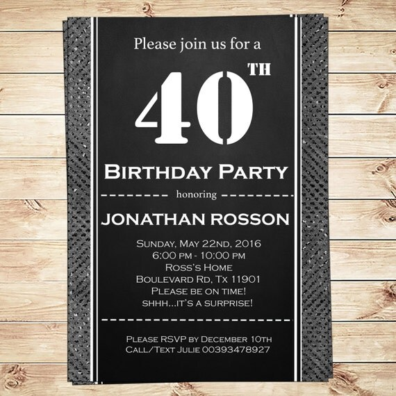 Men's Surprise Birthday Party Invitations Instant Download