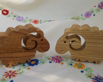 Pair of solid wood sheep