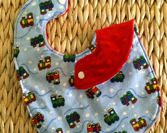 Baby Bib for Boy - Flannel and Minky - Choo Choo Trains - Baby Shower Gift