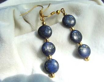 Copper Blue Gemstone Earrings - Like Lapis Lazuli