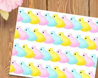 Peeps Pattern Cute Digital 8x10 Printable Poster Marshmallow Peep Chicks Pastel Collage Pattern Happy Easter Sweets Treats Marshmallows Fun