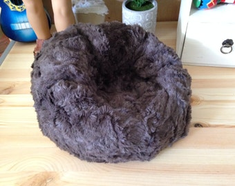 "Brown ""mink"" faux fur bean bag chair for your American Girl or other 18"" doll. Plush!"