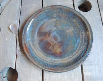 Plate in rutile blue stoneware