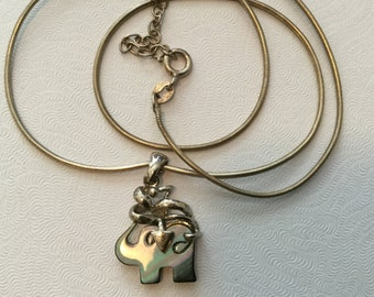 Sweet vintage abalone & sterling elephant necklace