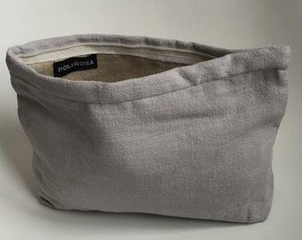 Light gray linen pouch