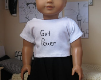 Girl Power Graphic Tee for American Girl 18inch Dolls