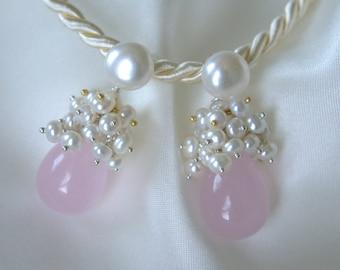 18mm Rose Quartz pearls earrings Rose Quartz freshwater pearl earrings