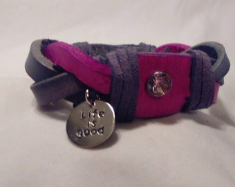 """100% handcrafted by me. """"Life is good"""" pink and grey leather braid charm bracelet"""