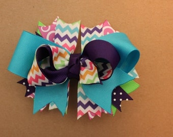 Chevron Turquoise and Purple Hairbow