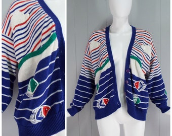 Vintage Red, White & Blue Striped Knit Cardigan with Applique Fish and Clouds | Size: Up to M/L