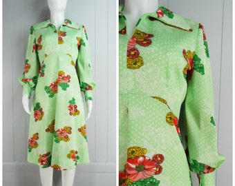 Vintage Womens 1970s Green & White Polka Dot and Floral Empire Waist Dress | Size M