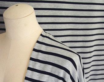 Stripe Cotton Bamboo Jersey Knit Fabric By 1/4 Metre, Grey Black, Soft Stretch Fabric, Bamboo Fabric, Knit Jersey Fabric for drapey dress