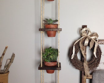 4 Tier Wood Vertical  Planter Pots Not Included Rustic Home Decor