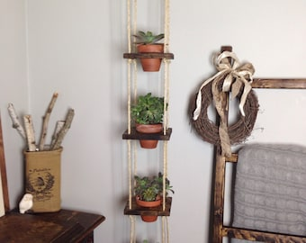 5 Tier With Pots Vertical Planter Wood Hanging Terracotta