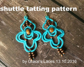 "Earrings tatting pattern, tatted lace jewelry pattern, PDF tatting pattern, ""Holiday Memory"" earrings Instant download"