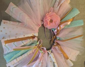 Ribbon & Tulle Tutu (Pink, Gold, Mint)