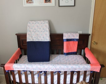 Coral & Navy Floral Pattern Crib Bedding Set
