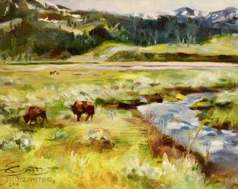 CUSTOM FRAMED Yellowstone III, original oil painting