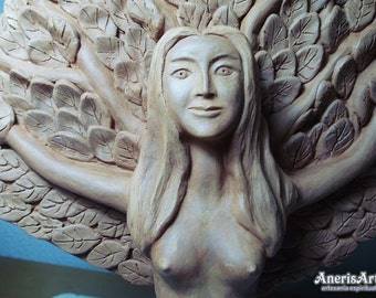 Tree Goddess Dryad, Original terracotta sculpture by Anerisart.