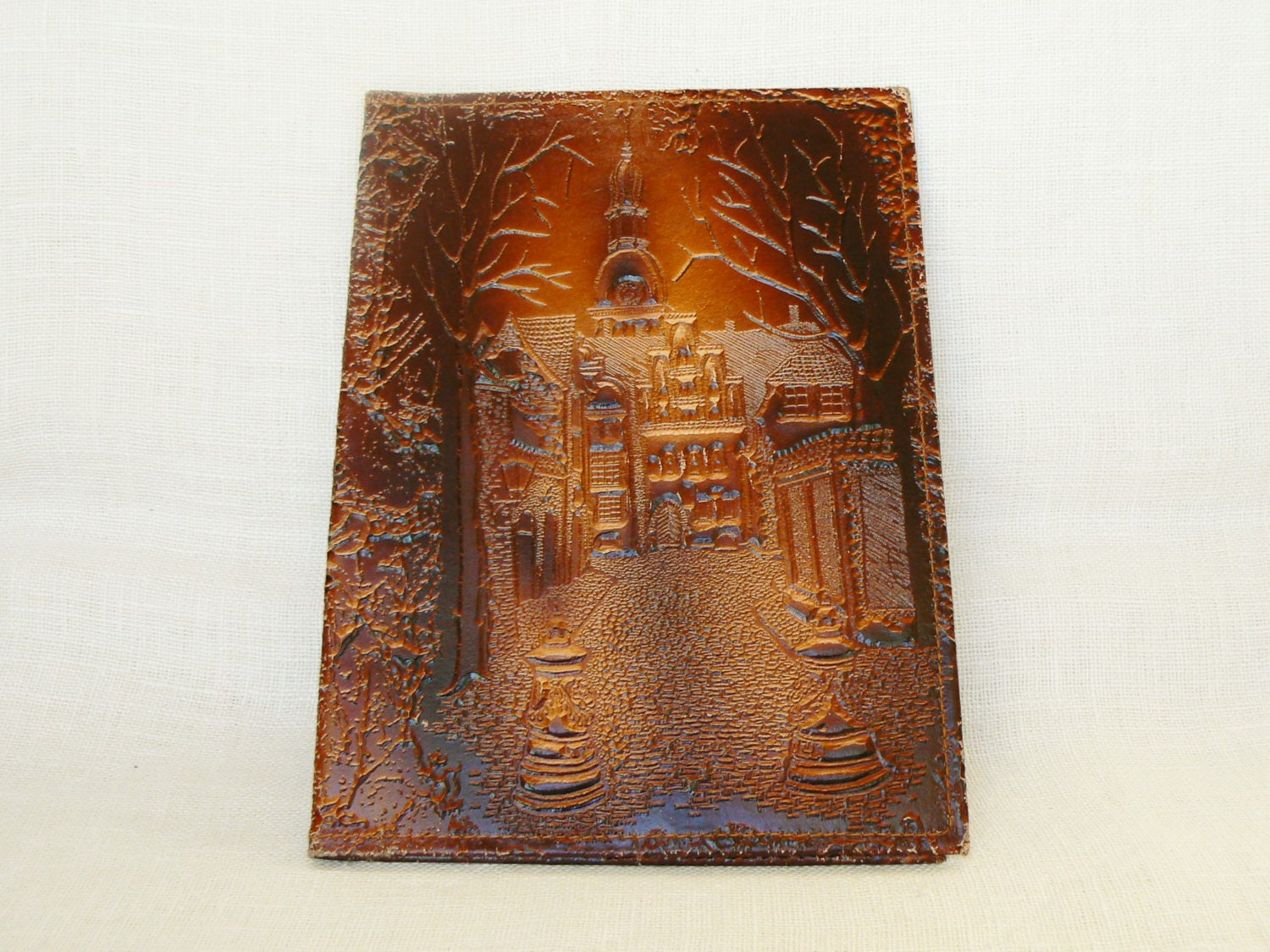 Leather Book Cover Pattern : Vintage leather book covers hardcovered pressed pattern