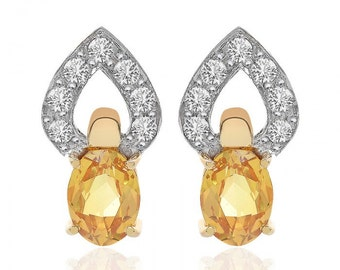 2.95 Carat Citrine White Sapphire Heart Shape Stud Earrings 18K Yellow Gold