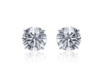 0.47 Carat Diamond Stud Earrings 14K White Gold