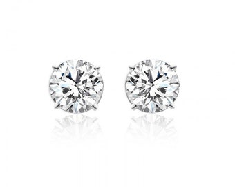 2.03 Carat Round Brilliant Cut Diamond Stud Earrings 14K White Gold