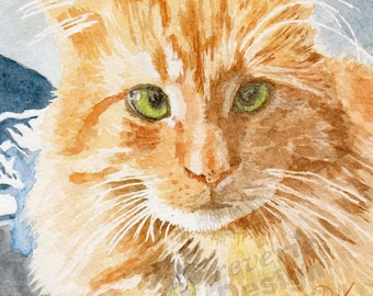 Pet Portrait/Custom Water Color Cat