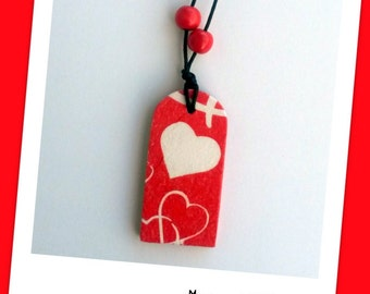 Heart necklace, birthday gift, natural, eco friendly, antialergic, wooden necklace, gift for woman, decoupage necklace, handmade necklace