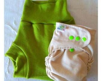 Pack fitted diaper and wool cover
