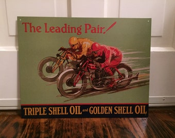Reproduction She'll Oils motorcycle collectible metal sign