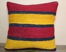 Naturel Dyes Turkish Kilim Pillow Red Yellow Plaid Kilim Pillow Turkish Pillow 16x16 Kilim Cushion Cover SP40-131