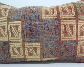 lumbar kilim pillow 16x24 handmade kilim rug embroidered pillow kelim kissen pillow cover boho pillow Multicolour pillow SP4060-231