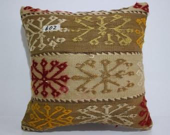 Embroidery Turkish Kilim Pillow,Kilim Cushion Cover Throw Pillow Geometric Designs Turkey Kilim Pillow 16x16 SP40-40 602