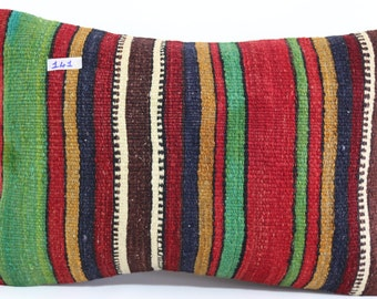 decorative kilim pillow lumbar pillow 16x24 striped kilim pillow lumbar pillow cushion cover throw pillow bohrmian pillow cover SP4060-141