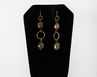 Genuine Freshwater Chocolate Pearl Earrings with Copper Chain