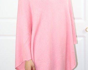Vibrant Baby Pink Cashmere Poncho V-Neck One Size Handwoven
