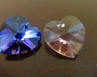 2 Swarovski Hearts