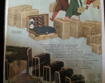 Vintage Ad.  Samsonite Luggage.  Santa. 1950's.