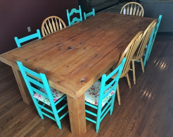 Dining Table, Rustic, Distressed, Knotty Alder