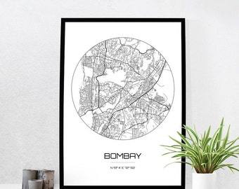 Bombay Map Print - City Map Art of Bombay India Poster - Coordinates Wall Art Gift - Travel Map - Office Home Decor