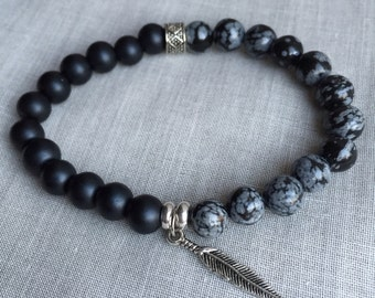 Black and gray feather bracelet