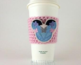 Princess Cinderella Coffee Cup Cozy / Crochet Coffee Sleeve / Reusable Cozie / Customizable