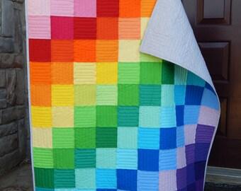 Rainbow Patchwork Kona Cotton Lap Quilt