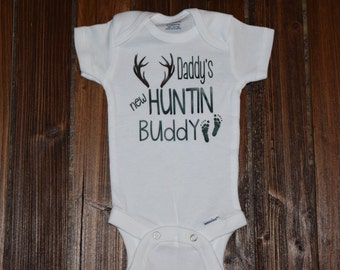 Daddy's New Hunting Buddy Bodysuit Baby  Baby Shower Gift Nursery Custom Clothing Infant {K81}