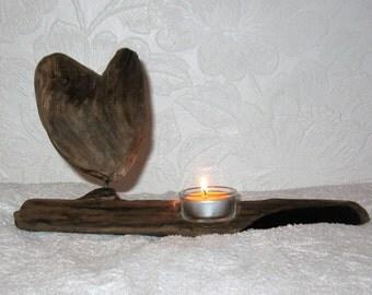 driftwood heart tealight holder